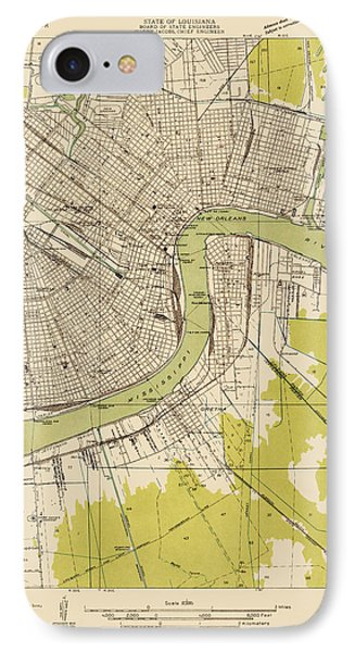 Antique Map Of New Orleans - Usgs Topographic Map - 1932 IPhone Case by Blue Monocle