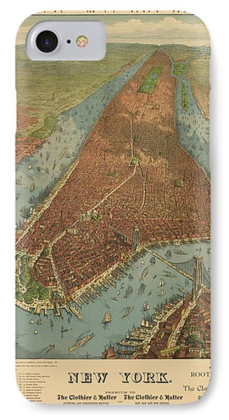 Antique Map Of New York City - 1879 IPhone Case