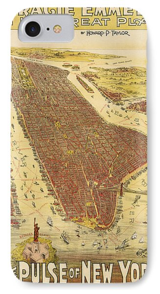 Antique Map Of New York City - 1891 IPhone Case by Blue Monocle