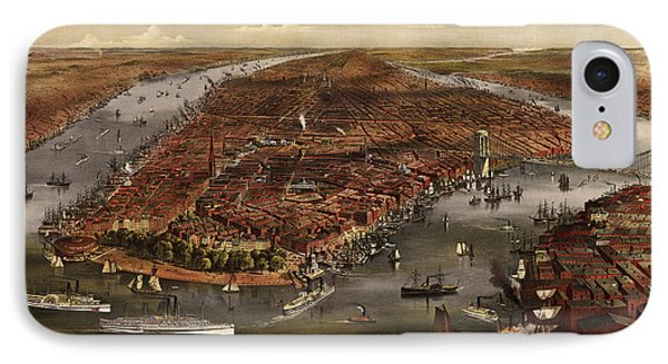 Antique Map Of New York City By Currier And Ives - 1870 IPhone Case