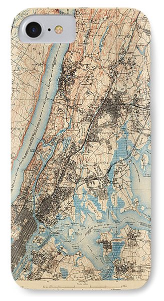 Harlem iPhone 7 Case - Antique Map Of New York City - Usgs Topographic Map - 1900 by Blue Monocle