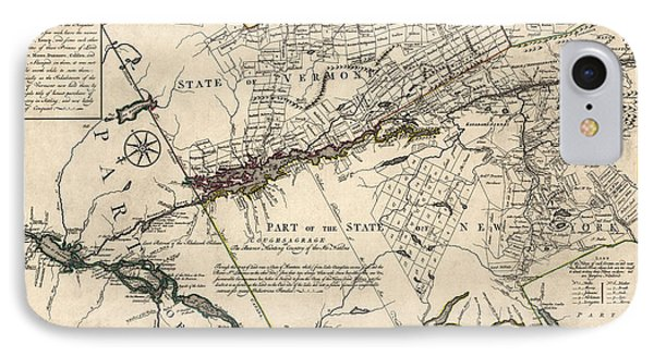 Antique Map Of New York State And Vermont By Covens Et Mortier - 1780 IPhone Case by Blue Monocle