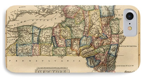Antique Map Of New York State By Fielding Lucas - Circa 1817 IPhone Case