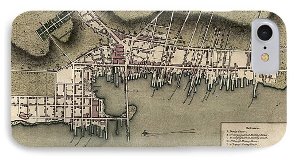 Antique Map Of Newport Rhode Island By William Faden - 1777 IPhone Case by Blue Monocle