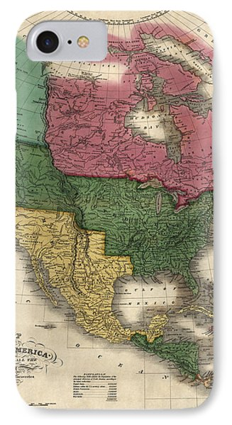 Antique Map Of North America By D. H. Vance - 1826 Phone Case by Blue Monocle