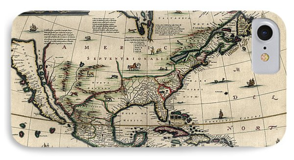 Antique Map Of North America By Jan Jansson - Circa 1652 IPhone Case by Blue Monocle