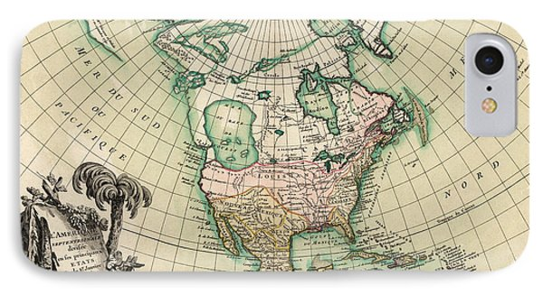 Antique Map Of North America By Jean Janvier - 1762 Phone Case by Blue Monocle