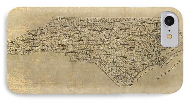 IPhone Case featuring the drawing Antique Map Of North Carolina - 1893 by Blue Monocle