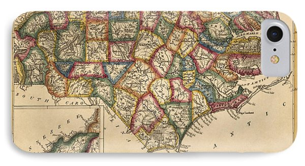 Antique Map Of North Carolina By Fielding Lucas - Circa 1817 Phone Case by Blue Monocle