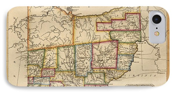 Antique Map Of Ohio By Fielding Lucas - Circa 1817 IPhone Case by Blue Monocle