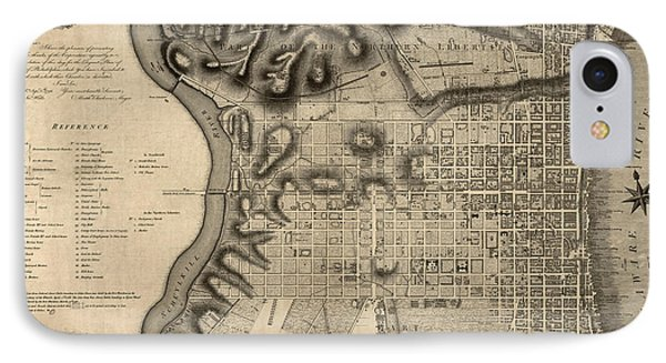 Antique Map Of Philadelphia By John Hills - 1797 Phone Case by Blue Monocle