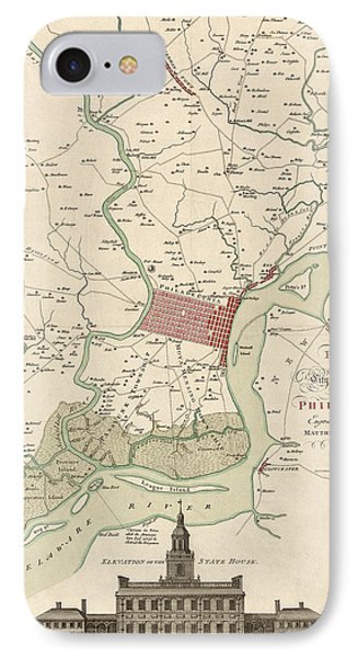Antique Map Of Philadelphia By Matthaus Albrecht Lotter - 1777 IPhone Case by Blue Monocle