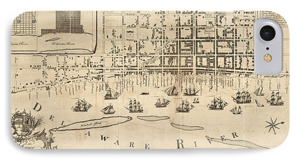 Antique Map Of Philadelphia By Nicholas Scull - 1762 IPhone Case
