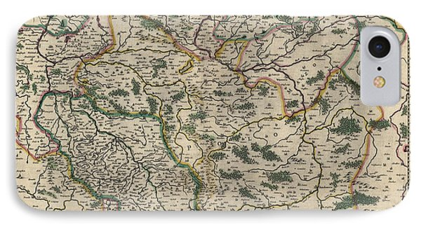 IPhone Case featuring the drawing Antique Map Of Poland By Willem Janszoon Blaeu - 1647 by Blue Monocle
