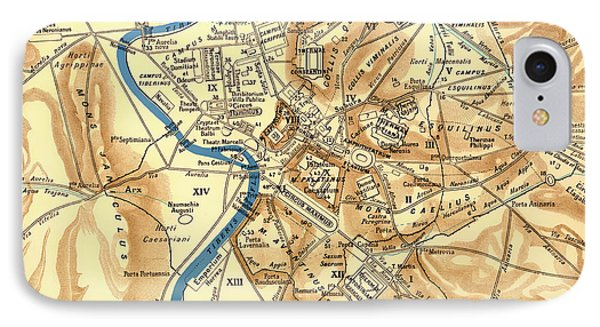 Antique Map Of Rome During Antiquity 1870 IPhone Case by Mountain Dreams