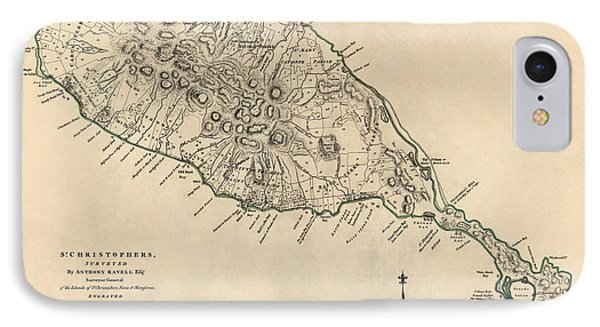 Antique Map Of Saint Kitts And Nevis By Thomas Jefferys - 1768 IPhone Case