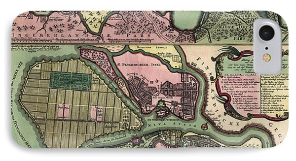 Antique Map Of Saint Petersburg Russia By Matthaeus Seutter - Circa 1734 IPhone Case