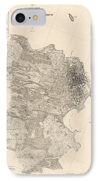Antique Map Of San Francisco By A. F. Rodgers - 1857 IPhone Case by Blue Monocle