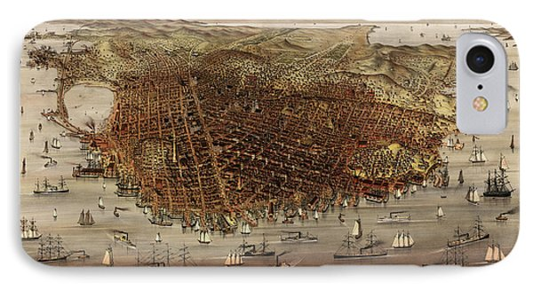 Antique Map Of San Francisco By Currier And Ives - Circa 1878 IPhone Case by Blue Monocle