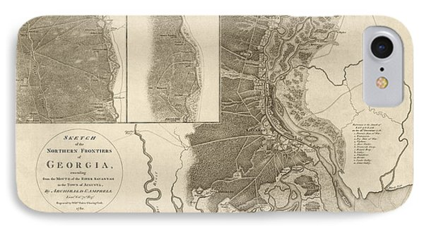 Antique Map Of Savannah Georgia By Archibald Campbell - 1780 IPhone Case by Blue Monocle