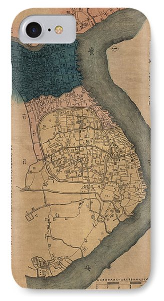 Shanghai iPhone 7 Case - Antique Map Of Shanghai China By Dian Shi Zhai - 1884 by Blue Monocle