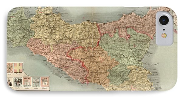 Antique Map Of Sicily Italy By Antonio Vallardi - 1900 IPhone Case by Blue Monocle