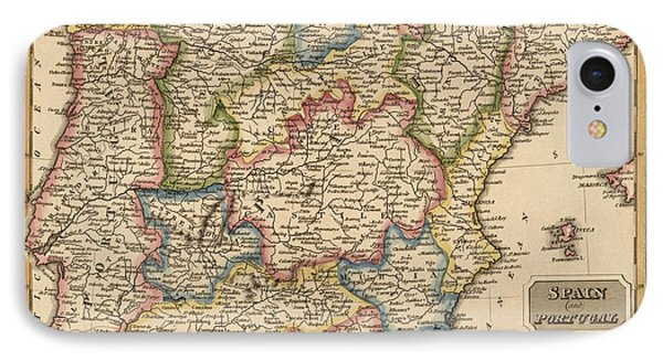 Antique Map Of Spain And Portugal By Fielding Lucas - Circa 1817 IPhone Case by Blue Monocle