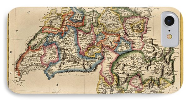 Antique Map Of Switzerland By Fielding Lucas - Circa 1817 IPhone Case by Blue Monocle