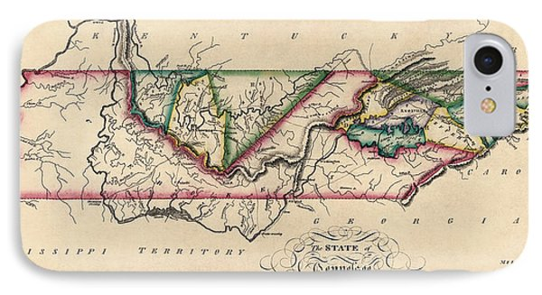 Antique Map Of Tennessee By Samuel Lewis - Circa 1810 Phone Case by Blue Monocle