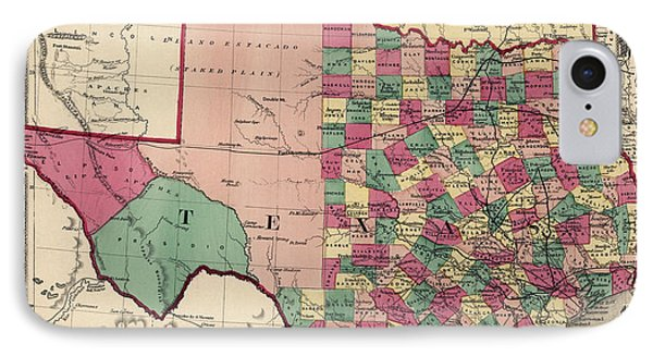 Antique Map Of Texas And Oklahoma By H. H. Lloyd And Co. - 1875 IPhone Case