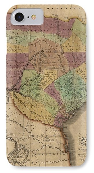 Antique Map Of Texas By Stephen F. Austin - 1837 IPhone Case