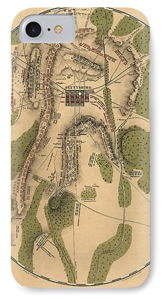 Antique Map Of The Battle Of Gettysburg By T. Ditterline - 1863 IPhone Case by Blue Monocle