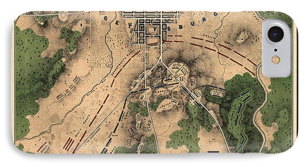 Antique Map Of The Battle Of Gettysburg By William H. Willcox - 1863 IPhone Case by Blue Monocle