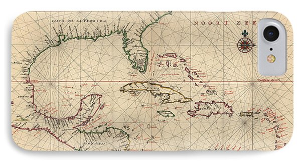Antique Map Of The Caribbean And Central America By Joan Vinckeboons - Circa 1639 IPhone Case