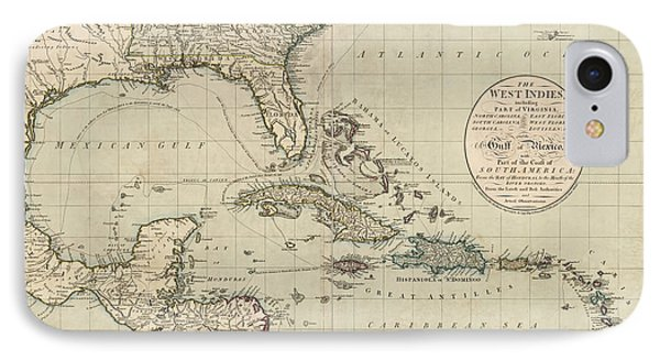 Antique Map Of The Caribbean And Central America By John Cary - 1783 IPhone Case