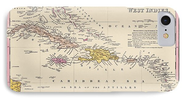 Antique Map Of The Caribbean By Samuel Augustus Mitchell - 1849 IPhone Case