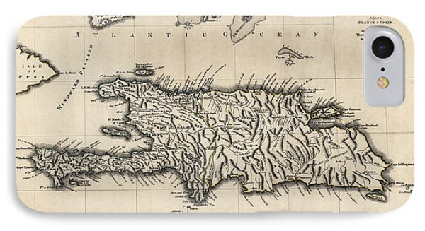 Antique Map Of The Dominican Republic And Haiti By Thomas Jefferys - 1768 IPhone Case by Blue Monocle