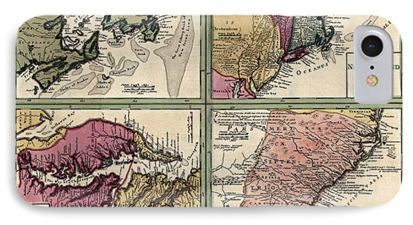 Antique Map Of Colonial America By Homann Erben - Circa 1760 IPhone Case by Blue Monocle