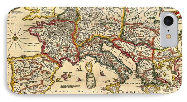 Antique Map Of The Empire Of Charlemagne  1657 IPhone Case by Mountain Dreams