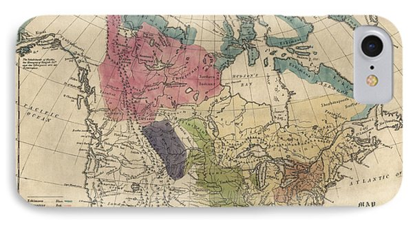 Antique Map Of The Indian Tribes Of North America By Albert Gallatin - 1836 IPhone Case