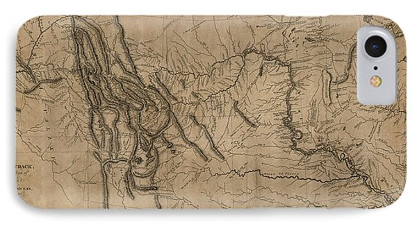 Antique Map Of The Lewis And Clark Expedition By Samuel Lewis - 1814 IPhone Case