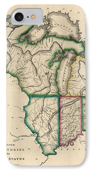 Antique Map Of The Midwest Us By Kneass And Delleker - Circa 1810 IPhone Case