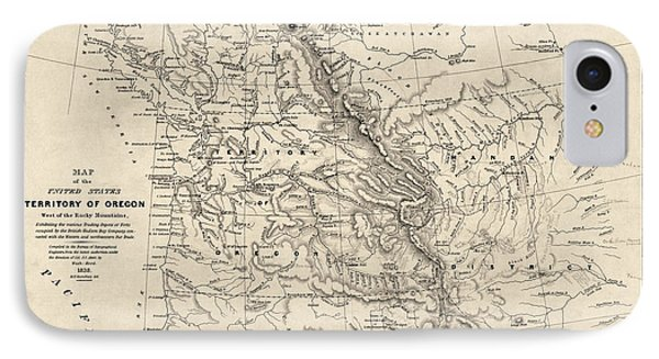 Antique Map Of The Pacific Northwest By Washington Hood - 1838 IPhone Case by Blue Monocle