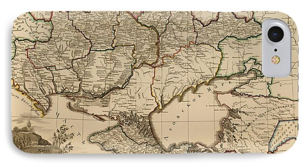 Antique Map Of The Russian Empire In Russian 1800 IPhone Case by Mountain Dreams
