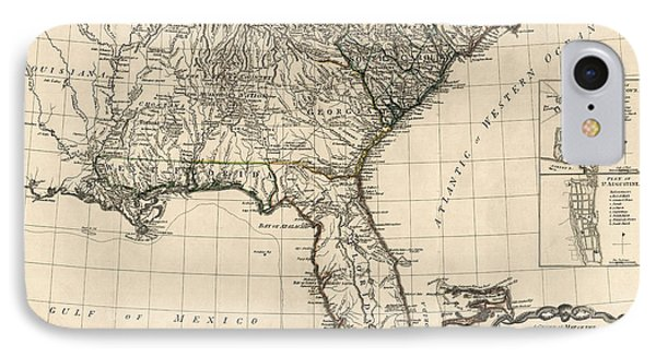 Antique Map Of The Southeastern United States By Bernard Romans - 1776 IPhone Case by Blue Monocle