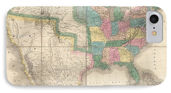 Antique Map Of The United States By David Burr - 1839 Phone Case by Blue Monocle