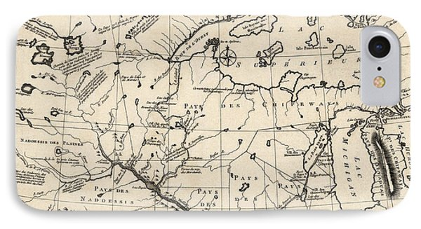 Antique Map Of The Upper Midwest Us  And Great Lakes By Benard - Circa 1768 IPhone Case