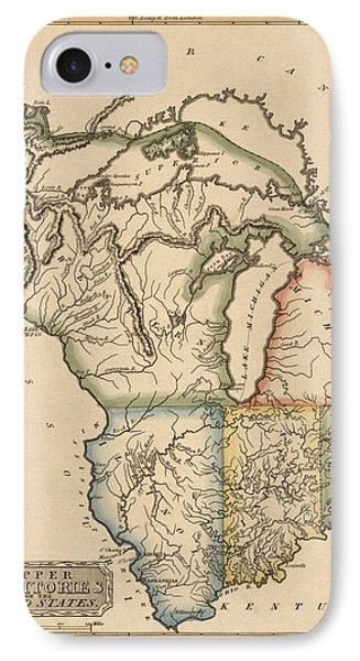 Antique Map Of The Upper Midwest Us By Fielding Lucas - Circa 1817 IPhone Case