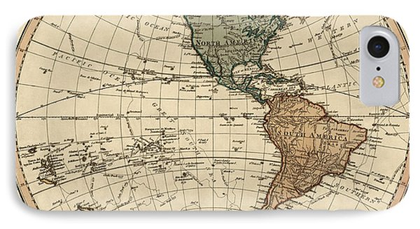 Antique Map Of The Western Hemisphere By William Faden - 1786 IPhone Case
