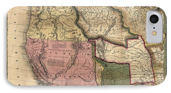 Antique Map Of The Western United States By Samuel Augustus Mitchell - 1846 IPhone Case